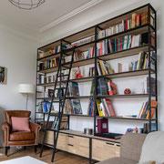 Bibliothèque avec placards et tiroirs