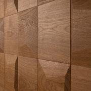 Wandverkleidung - Wand-Design Exklusiv, Kissen kombiniert mit flachen Quadrat-Elementen, Farbton natur