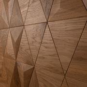 Wandverkleidung - Wand-Design Exklusiv, Pyramide kombiniert mit flachen Elementen, Farbton Natur