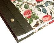 Gästealbum / Schraubalbumn elegante Blumen olivegrün