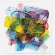 """""""Brush #2"""" 2011, Kunstharzlack auf eVa-Folien, gefaltet, verschmolzen, Acrylglasträger, 39 x 37 x 2 cm"""