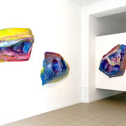 """""""Divergence I, II, IV"""" 2020, Acryl, Papier. Installation view at Axel Obiger"""