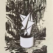 """""""Moderniste II"""", Kohle auf Papier, Cutout, 30 x 20 cm, 2016"""