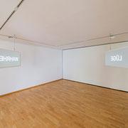 """""""Spieglein, Spieglein"""" 2012, Leuchtkästen, pulverbeschichtet, Spiegel, gesandstrahlt, LED´s je 52 x 122 x 20 cm"""