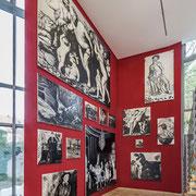 """""""Verschollene Bilder"""", 14 Gemälde, Öl & Tusche auf Leinwand, verschiedene Maße. Ausstellungsansicht, Kunstverein Augsburg"""