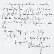 Brief von Richard Strauss an den Chor der Wiener Staatsoper.