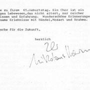 Brief von Nikolaus Harnoncourt an den Chor der Wiener Staatsoper.