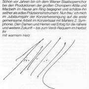 Brief von Giuseppe Sinopoli an den Chor der Wiener Staatsoper.