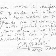 Brief von Carlo Maria Giulini an den Chor der Wiener Staatsoper.