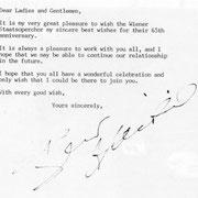 Brief von Bernard Haiting an den Chor der Wiener Staatsoper.