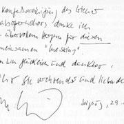 Brief von Yehudi Menuhin an den Chor der Wiener Staatsoper.