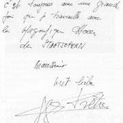 Brief von Georges Pretre an den Chor der Wiener Staatsoper.