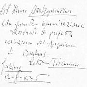 Brief von Arturo Toscanini an den Chor der Wiener Staatsoper.