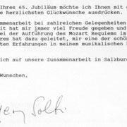 Brief von Sir Georg Solti an den Chor der Wiener Staatsoper.