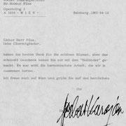 Brief von Herbert von Karajan an den Chor der Wiener Staatsoper.