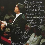 Brief von Riccardo Muti an den Chor der Wiener Staatsoper.