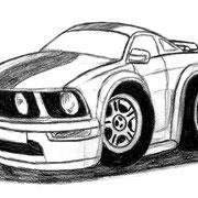 """""""Car-Toon Mustang"""", Bleistift auf Papier, ca. 20 x 15 cm, freie Arbeit"""