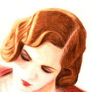 """""""In red"""", Buntstift auf Karton, ca. 30 x 40 cm, freie Arbeit"""
