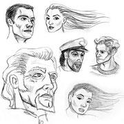 """Characterskizzen für """"Shatyva"""" von Steven Bakeras"""