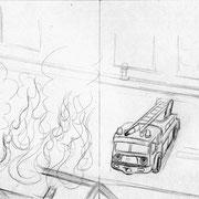 """Seitenskizze für """"Los geht's, kleines Feuerwehrauto"""" von Tanja Fechner, Loewe Verlag GmbH, 2013"""