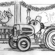 """Seitenskizze """"Rabe"""" für """"Geschichten vom Traktor Bulli"""" von ThiLo, Loewe Verlag GmbH, 2013"""