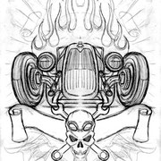 Skizze Kustom Graphic Hot Rod, freie Arbeit