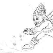 """Characterskizze """"Iceman"""" für """"Meine Kindergartenfreunde - Superhelden"""", Loewe Verlag GmbH, 2013"""