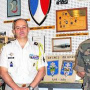 LCL Wache, chef de corps du 110 de 2012 à 2014 avec l' ADC Vendeville, président des sous-officiers et le CCH Poujol, président des caporaux-chefs.