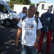 Robert Pannocchia avec le t-shirt des 50 ans de présence du 110 à Donaueschingen.