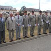 les anciens chefs de corps du régiment, Gal Cot, Gal Bauer, Col Pellabeuf, Gal Laugel, Col Christy, Col de Madre, Col Gauci, Col Leroux, Col Roux.