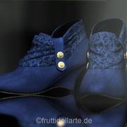 Stiefeletten, Satin, blau