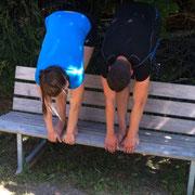 2.Starttraining Andermatt, Juli 2015: und natürlich dehnen...