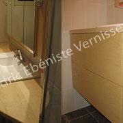 Agencement et finition d'un meuble de salle de bain vernis satin