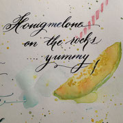 Cocktail in Aquarell und Kalligraphie