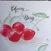 Kirschen - mon cherie in Aquarell und Kalligraphie