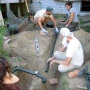 植栽の下に埋める雑排水の配管