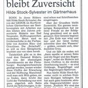 Bonner Rundschau, 31.1.1991 zur Einzelausstellung im Kurfürstlichen Gärtnerhaus, Bonn