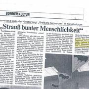 Rheinzeitung, 21.06.1991 zur Gruppenausstellung BBK im Künstlerforum, Bonn