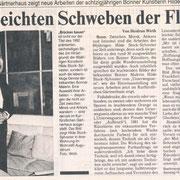 Bonner Rundschau, 29.11.1994 zur Einzelausstellung im Kurfürstlichen Gärtnerhaus, Bonn