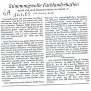 """General Anzeiger, 14.02.1985 zur Einzelausstellung im """"Atelier 161"""" , Bonn"""