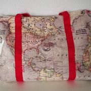 Tasche, Weltkarte, rot, Umhängetasche