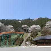 駐車場からジャンボすべり台山側を臨む