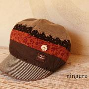 茶色レースの 秋色キャスケット  (14-au-08-cas)