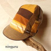 茶色×カーキのグラデーション背高帽子