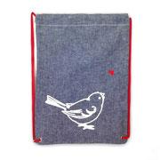 Rucksack jeans mit Vogel weiss
