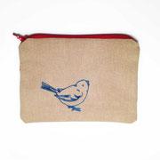Etui klein/Portemonnaie beige mit dunkelblauem Vogel