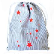 Rucksack gestreift mit Sternen pink