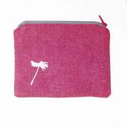Etui klein/Portemonnaie pink/rot mit weisser Pusteblume