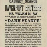 Werbeplakat für Séance des Nachfolgers der Davenport Brüder, William Fay. (Public Domain) #Kabinett #Medium #Spiritismus #paranormal