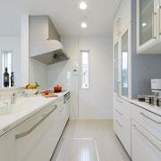 キッチン:照明と窓のラインを揃えてスッキリと。